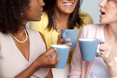 Diverse group of women talking and drinking coffee. Stock Image