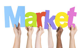 Diverse Group of Hands Holding Market Stock Image