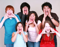 Diverse group of kids shouting. Diverse group of multi-ethnic kids shouting Royalty Free Stock Photos