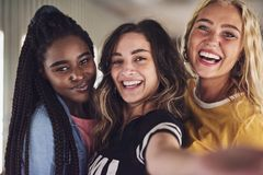 Diverse group of young female friends taking a selfie together. Diverse group of laughing young girlfriends taking a selfie together while enjoying a night out royalty free stock photos
