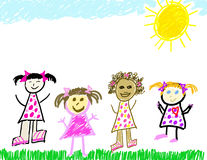 Diverse group of little girls Stock Photos