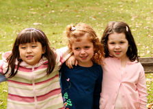Diverse group of little girls outside Royalty Free Stock Image