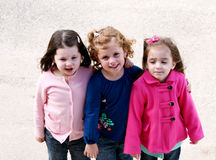 Diverse group of little girls outside Stock Image