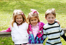 Diverse group of little kids outside Stock Photo