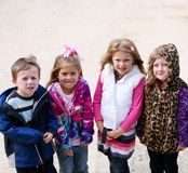 Diverse group of little kids outside Stock Photos
