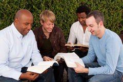 Diverse group of men studying together. Royalty Free Stock Photo