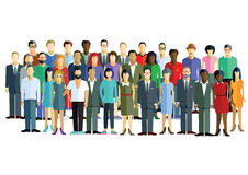Diverse group of men and women. In various attire on white background Royalty Free Stock Image