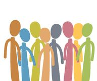 Diverse Group of People. An illustration featuring a group of abstract people in different colours standing stock illustration