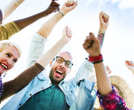 Diverse Group People Arms Raised Concept Royalty Free Stock Photo