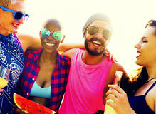Diverse Group People Beach Party Dancing Concept Royalty Free Stock Image