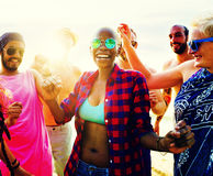 Diverse Group People Beach Party Dancing Concept Royalty Free Stock Images