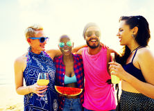 Diverse Group People Beach Party Dancing Concept Stock Photo