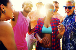Diverse Group People Beach Party Dancing Concept Stock Images
