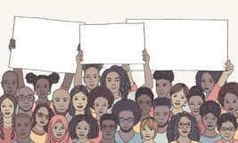 Diverse group of people of color holding empty signs. Hand drawn illustration of a diverse group of men and women of color, holding empty signs with space for vector illustration
