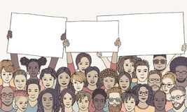Diverse group of people holding empty signs. Hand drawn illustration of a diverse group of men and women holding empty signs with space for text royalty free illustration