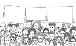 Diverse group of people holding empty signs. Diverse group of men and women holding empty signs in the air, black and white ink illustration, people protesting royalty free illustration