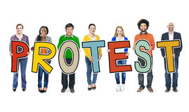 Diverse Group of People Holding Text Protest Royalty Free Stock Photography