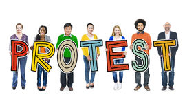 Diverse Group of People Holding Text Protest Concept Royalty Free Stock Photography