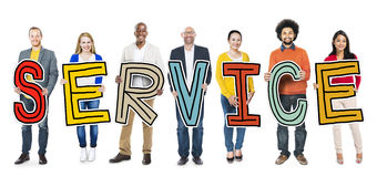Diverse Group of People Holding Text Service.  royalty free stock photography