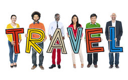 Diverse Group of People Holding Text Travel Stock Photos