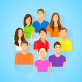 Diverse group of people icon avatar man and woman. Portrait flat design vector Stock Image