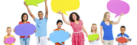 Diverse Group People Kids Holding Speech Bubbles Concept stock images