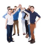 Diverse group of people making high five gesture Royalty Free Stock Image