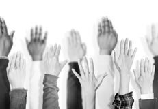 Diverse group of raised hands Royalty Free Stock Images