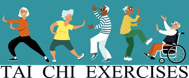 Tai Chi Exercises. Diverse group of senior citizens doing tai chi exercise, EPS 8 vector illustration Royalty Free Stock Photography