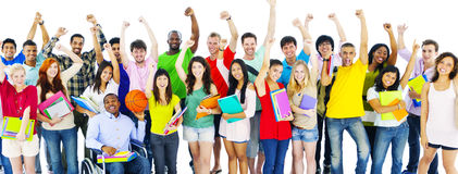 Diverse Group of Student Friends Celebrating Concept.  royalty free stock image