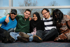 Diverse Group of Students. Smiling by a window Stock Photos