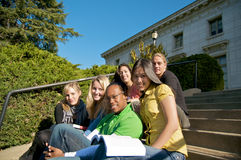 Diverse group of students. A diverse group of multicultural students on campus. A photo of Asian, African American, Hispanic and Caucasian students Royalty Free Stock Photography