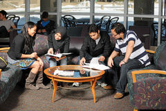 Diverse group of students studing Stock Photos