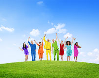 Diverse Group Success Winning Celebration Cheerful Concept Royalty Free Stock Photos