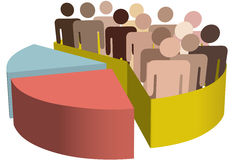 Diverse group of symbol people as data in a chart. A chart with a diverse group of people as symbols of majority, population, team, market, customers, audience Stock Image
