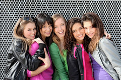 Diverse group teenagers. Diverse group of teens, teenagers, youth students or girls Stock Photo