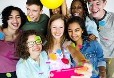Diverse group of teenagers shoot stock photography