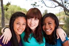 Diverse group of teens girls smiling. Diverse group of teens girls smiling outside Royalty Free Stock Photography