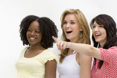Diverse group of woman isolated on white. Happy diverse group of women laughing and taking Stock Image