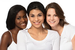 Diverse group of women smiling. Diverse group of women on white stock photos