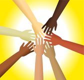 Diverse hands. Group of diverse hands reaching out and touching each other Stock Photo