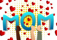 Diverse hands holding the word Mom. Vector illustration stock illustration