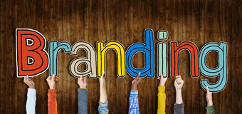Diverse Hands Holding Word Branding Concept Royalty Free Stock Images