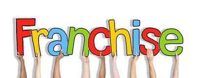 Diverse Hands Holding the Word Franchise Concept Stock Images