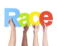 Diverse Hands Holding The Word Race Royalty Free Stock Image