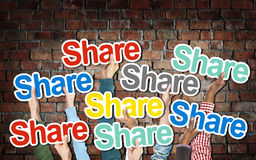 Diverse Hands Holding the Word Share Royalty Free Stock Photo