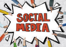 Diverse Hands Holding the Word Social Media Royalty Free Stock Image