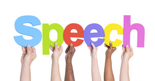 Diverse Hands Holding the Word Speech Stock Images