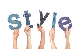 Diverse Hands Holding The Word Style isolated on white background Royalty Free Stock Photo