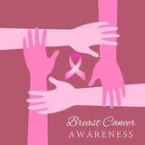 Diverse hands joining for breast cancer awareness. Diverse women hands joining for breast cancer awareness Royalty Free Stock Photography